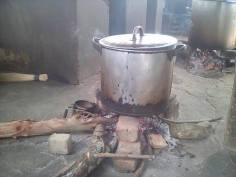 food is cooked on fire