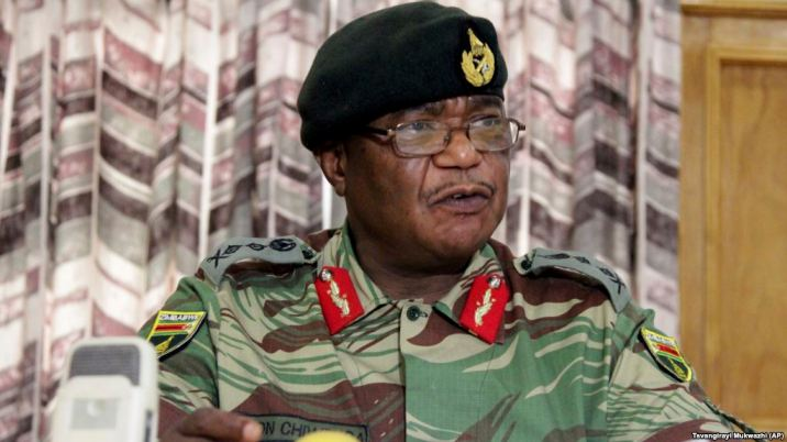 """Zimbabwes Army Commander Constantino Chiwenga addresses a press conferene in Harare, Monday, November, 13, 2017.Chiwenga said that the military,"""" will not hesitate to step in,"""" days after President Robert Mugabe fired a vice president who enjoyed the support of the army and once viewed as a potential successor.(AP Photo/Tsvangirayi Mukwazhi)"""